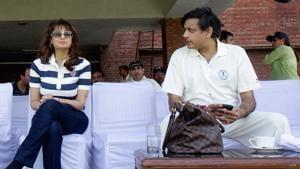 Congress leader Shashi Tharoor and his wife Sunanda Pushkar at a cricket match in Delhi in this file photo.(Ronjoy Gogoi/ HT file photo)