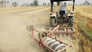 A farmer mixing the wheat stubble with soil at Rajjian village in Ajnala.(HT Photo)