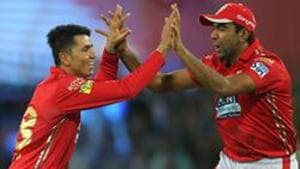 Afghanistan spinner Mujeeb Ur Rahman of the Kings XI Punjab celebrates after taking the wicket of Ben Stokes of the Rajasthan Royals during an IPL 2018 match at the Holkar Stadium, Indore on May 6, 2018.(BCCI)