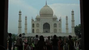A view of the Taj Mahal. The heritage site is currently the subject of a legal battle between the UP Sunni Central Waqf Board and the Archaeological Survey of India.(Vijayanand Gupta/HT File Photo)