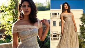 Priyanka Chopra wore a Dior gown to the wedding reception on Saturday.(Instagram)