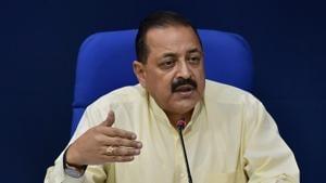 Union minister Jitendra Singh addresses a press briefing in New Delhi.(PTI File Photo)