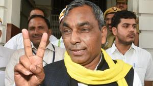 Uttar Pradesh minister and Suheldev Bharat Samaj Party president Om Prakash Rajbhar.(PTI File Photo)