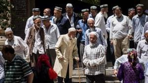 Local Muslims leave a Mosque after Friday prayers at Hotan in China's Xinjiang Uighur Autonomus Region.(AFP File)