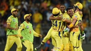 Chennai Super Kings (CSK) players celebrate thier victory over Sunrisers Hyderabad (SRH) in Qualifier 1 of the Indian Premier League (IPL 2018) in Mumbai on Tuesday.(PTI)