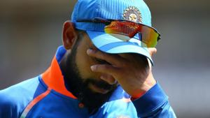 The non-stop cricket through the long home season last one year seems to have taken its toll on Indian cricket team skipper Virat Kohli.(Getty Images)