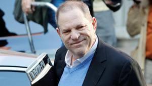 Film producer Harvey Weinstein arrives at the 1st Precinct in Manhattan in New York.(REUTERS)