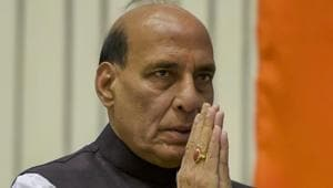 Union home minister Rajnath Singh at the 16th BSF Investiture Ceremony-2018, at Vigyan Bhawan in New Delhi, on Tuesday.(PTI Photo)