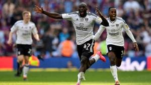 Fulham's Aboubakar Kamara celebrates promotion to the Premier League after beating Aston Villa in the championship playoff final at Wembley Stadium in London on Sunday.(Reuters)