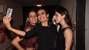Anita Hassnandani with Surbhi Jyoti at her house warming party.(Viral Bhayani)