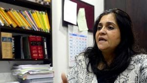 Activist Teesta Setalvad during an interview at her lawyer's office in Mumbai.(AFP File Photo)