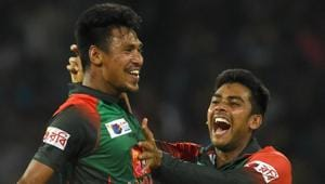 Bangladesh cricketer Mustafizur Rahman (L) complained of pain after joining the Bangladesh national training camp last week and is now expected to start rehabilitation in two weeks for a crack on his big left toe.(AFP)