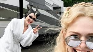 Elle Fanning posted this cool photo with her witch-mom, Angelina Jolie from the sets of Maleficent 2.(Instagram)