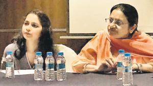 (Left to right) Shweta Ranka and Surekha Ramachandran, founder Down Syndrome Federation of India, at hotel Deccan Rendezvous on Tuesday.(HT PHOTO)