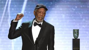 In this file photo taken on January 21, 2018 Morgan Freeman accepts the Life Achievement Award onstage during the 24th Annual Screen Actors Guild Awards show at The Shrine Auditorium in Los Angeles, California.(AFP)