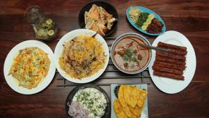 A typical Sehri spread includes a mix of savoury and sweet dishes like sewaiyan, biryani, sheermal and kebabs.(Shivam Saxena/HT)