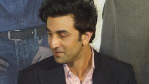 Ranbir Kapoor at the teaser launch of Sanjay Dutt's biopic Sanju in Mumbai on April 24.(IANS)