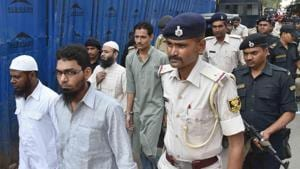 The convicted Indian Mujahideen militants being produced in a Patna court in the Bodh Gaya serial blasts case on May 31, 2018.(HT Photo)