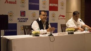 Narinder Batra (L), the President of the Indian Olympic Association, said they are planning to host the 2030 Asian and 2032 Olympic Games.(HT Photo)