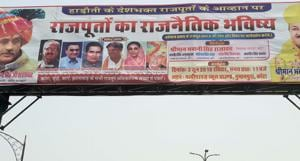 A hoarding of the Rajput meeting called by BJP MLA in Kota.(HT Photo)