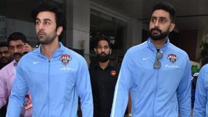 Ranbir Kapoor and Abhishek Bachchan take part in a football friendly.(Viral Bhayani)