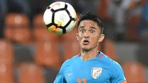 Sunil Chhetri will become the second Indian football team player to play 100 games after Bhaichung Bhutia.(PTI)