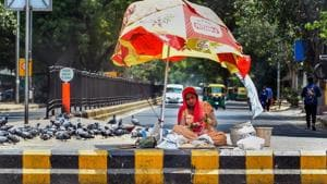 A street trader selling pigeon feed waits for customers as temperature soars in New Delhi on June 03.(PTI Photo)