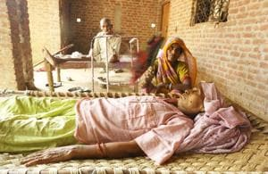 Vidya Devi, 62, is suffering from cancer and her condition is stated to be critical.(Sachin Saini/HT Photo)