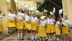 Students of St. Margaret School rejoice after the Madhyamik result in Kolkata on Wednesday.(Samir Jana/ Hindustan Times)
