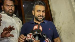 Raj Kundra, the husband of Bollywood actress Shilpa Shetty, comes out of ED office at Ballard estate in Mumbai on Tuesday.(Kunal Patil/HT Photo)