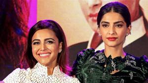 Sonam Kapoor and Swara Bhaskar during the music launch of their film Veere Di Wedding, in Mumbai.(PTI)