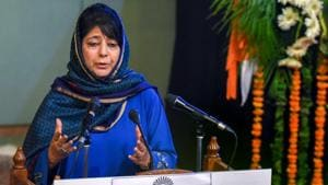 J&K chief minister Mehbooba Mufti addresses during a function at SKICC in Srinagar on Saturday.(PTI photo)