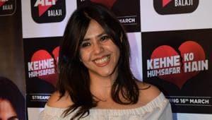 Ekta Kapoor at the screening of upcoming web series Kehne Ko Humsafar Hain in Mumbai.(IANS)