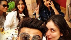 Sonam Kapoor, Rhea Kapoor, Kareena Kapoor and Arjun Kapoor met in London for a lunch.(Instagram)