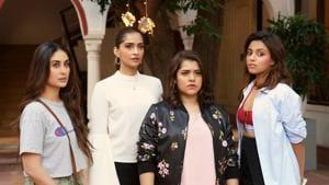 Kareena Kapoor Khan, Sonam Kapoor Ahuja, Shikha Talsania and Swara Bhaskar in a still from Veere Di Wedding.