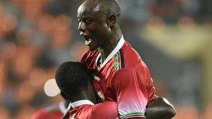 Kenya players celebrate after striking a goal against Chinese Taipei during the Intercontinental football Cup match.(PTI)