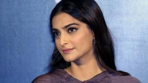 Sonam Kapoor looks on during the trailer launch of the upcoming Hindi film Sanju in Mumbai.(AFP)