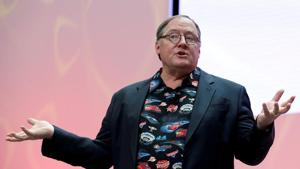 John Lasseter, Chief Creative Officer of Walt Disney and Pixar Animation Studios, speaks during the North American International Auto Show in Detroit.(REUTERS)