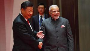 Prime Minister Narendra Modi and Chinese president Xi Jinping held a bilateral meeting in Qingdao on the sidelines of the SCO summit.(PIB/Twitter)