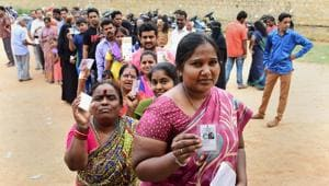 People queue up to cast their votes in Bengaluru during the recent Karnataka assembly elections. Madhya Pradesh goes to the polls later this year.(PTI File)