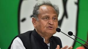 Senior Congress leader Ashok Gehlot addressed the party workers in Jodhpur on Saturday.(File/PTI)