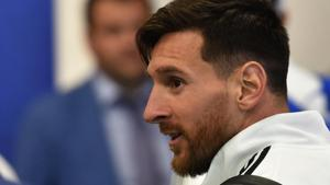 Argentina's forward Lionel Messi walks at the Zhukovsky airport, near Moscow, on June 9, 2018, as Argentina's national football team arrives ahead of the Russia 2018 World Cup.(AFP)