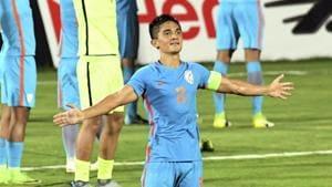 India's football player Sunil Chhetri (no 11) celebrates their win over Kenya at the Hero Intercontinental Cup final match.(PTI)