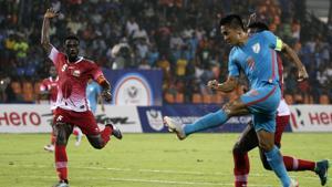 India captain Sunil Chhetri (blue) scored eight goals in Intercontinental Cup.(AP)