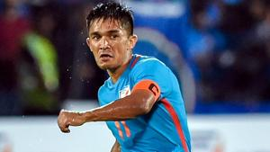 Sunil Chhetri guided the Indian football team to the Intercontinental Cup 2018 title on Sunday.(PTI)