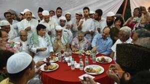 DPCC President Ajay Maken and Delhi's former chief minister Sheila Dikshit along with other leaders and Muslim people at a Roza Iftar party organised at Delhi Pradesh Congress Committee office, in New Delhi on Sunday, June 10, 2018.(PTI File Photo)