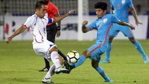 Anirudh Thapa (R) was a part of the Indian football team which lifted the Intercontinental Cup 2018 title.(AP)