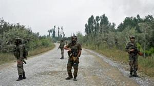 Army personnel stand guard during a gun battle with militants, Pulwama, Kashmir (Representative Photo)(PTI)