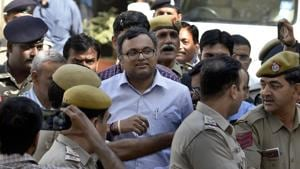 Karti Chidambaram, son of former Union finance minister P Chidambaram, coming out after a hearing at Patiala House Court in New Delhi on March 12, 2018.(Sushil Kumar/HT File Photo)