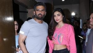 Suniel Shetty came in for Race 3 screening with his daughter Athiya.(Viral Bhayani)